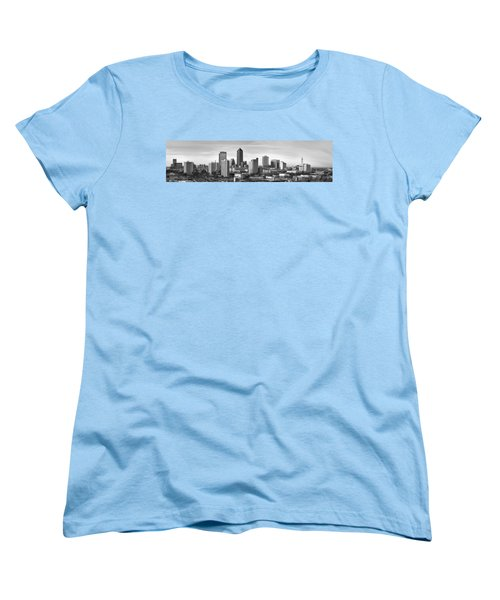 Women's T-Shirt (Standard Cut) featuring the photograph Jacksonville Skyline Morning Day Black And White Bw Panorama Florida by Jon Holiday