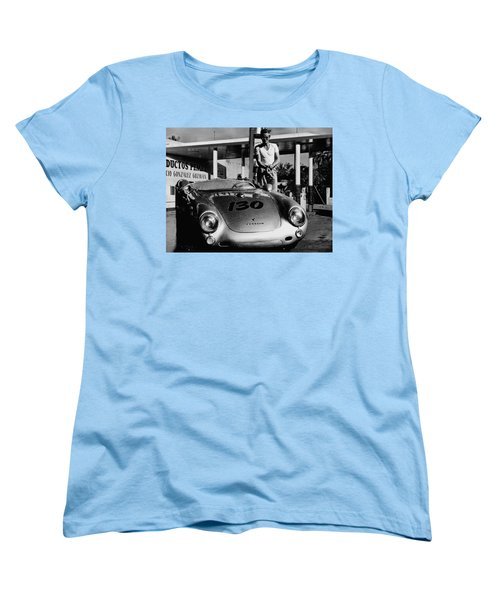 James Dean Filling His Spyder With Gas In Black And White Women's T-Shirt (Standard Cut)
