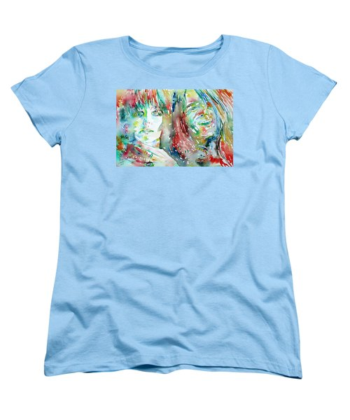 Janis Joplin And Grace Slick Watercolor Portrait.1 Women's T-Shirt (Standard Cut)