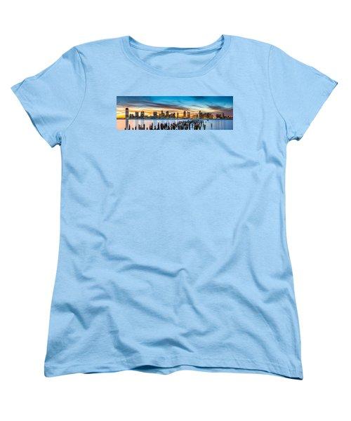Jersey City Panorama At Sunset Women's T-Shirt (Standard Cut) by Mihai Andritoiu