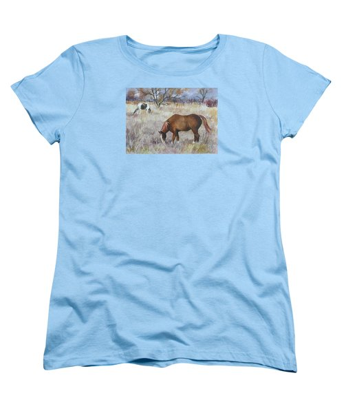 Women's T-Shirt (Standard Cut) featuring the painting Jill's Horses On A November Day by Anne Gifford