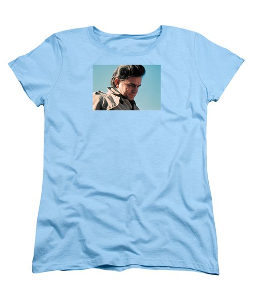 Women's T-Shirt (Standard Cut) featuring the photograph Johnny Cash  Music Homage Ballad Of Ira Hayes Old Tucson Arizona 1971 by David Lee Guss