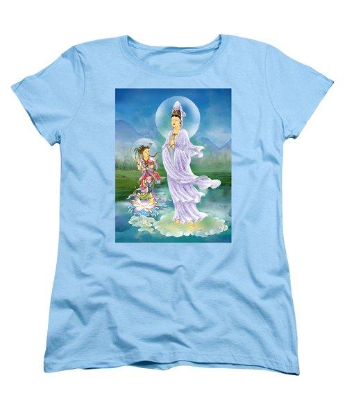 Joining Palms Kuan Yin Women's T-Shirt (Standard Cut) by Lanjee Chee