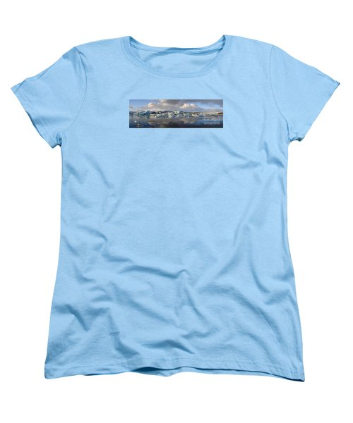 Jokulsarlon Glacier Lagoon Panorama Women's T-Shirt (Standard Cut) by IPics Photography