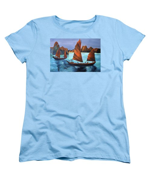 Women's T-Shirt (Standard Cut) featuring the painting Junks In The Descending Dragon Bay by Tracey Harrington-Simpson