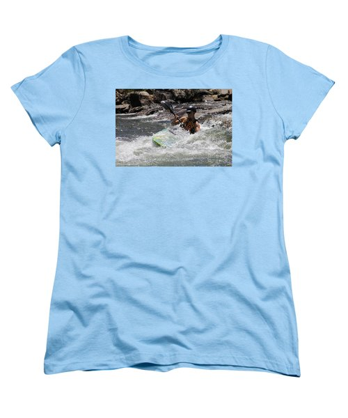 Women's T-Shirt (Standard Cut) featuring the pyrography Kayaking In Golden by Chris Thomas