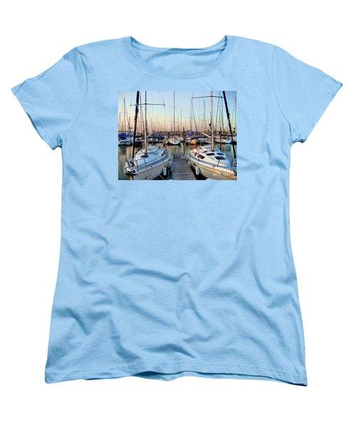 Kemah Boardwalk Marina Women's T-Shirt (Standard Cut) by Savannah Gibbs