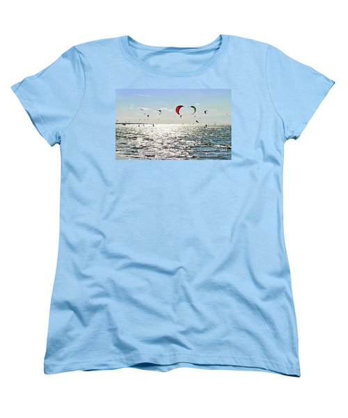 Women's T-Shirt (Standard Cut) featuring the photograph Kitesurfing In The Sun by Maja Sokolowska