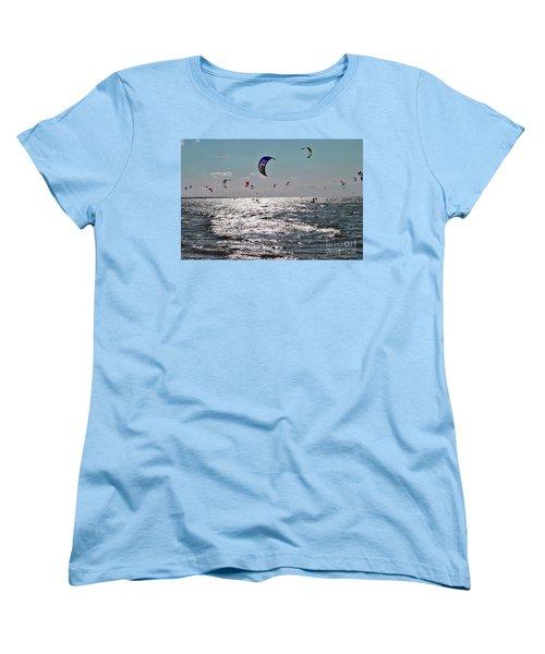 Women's T-Shirt (Standard Cut) featuring the photograph Kitesurfing by Maja Sokolowska