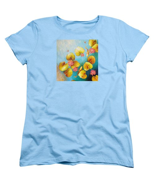 Women's T-Shirt (Standard Cut) featuring the painting Koi Pond by Dina Dargo