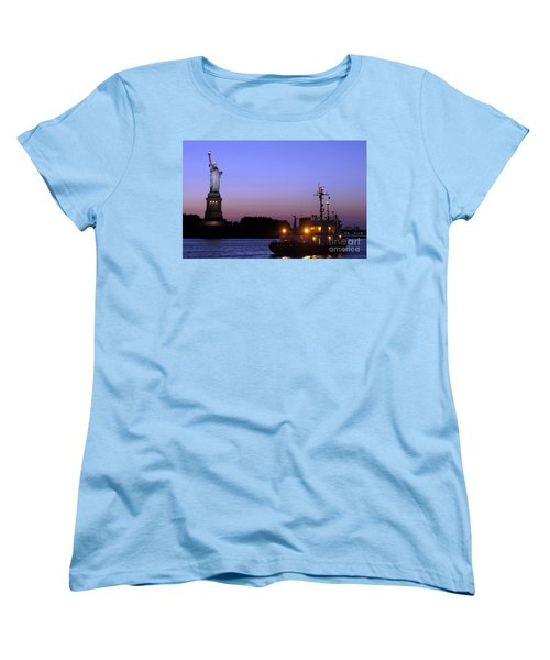 Women's T-Shirt (Standard Cut) featuring the photograph Lady Liberty At Dusk by Lilliana Mendez