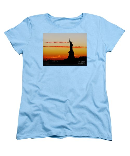 Women's T-Shirt (Standard Cut) featuring the photograph Lady Liberty At Sunset by Susan Wiedmann