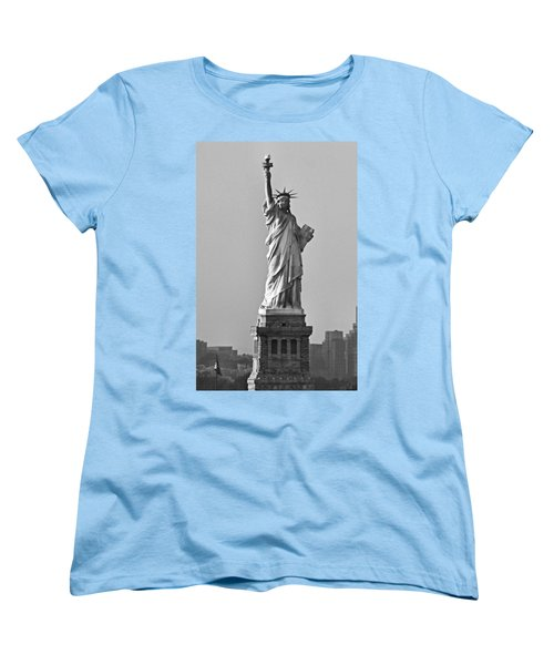 Lady Liberty Black And White Women's T-Shirt (Standard Cut) by Kristin Elmquist