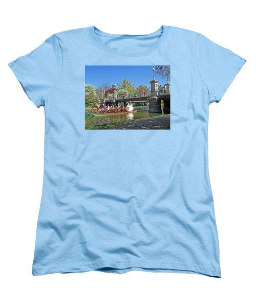 Women's T-Shirt (Standard Cut) featuring the photograph Lagoon Bridge And Swan Boat by Barbara McDevitt