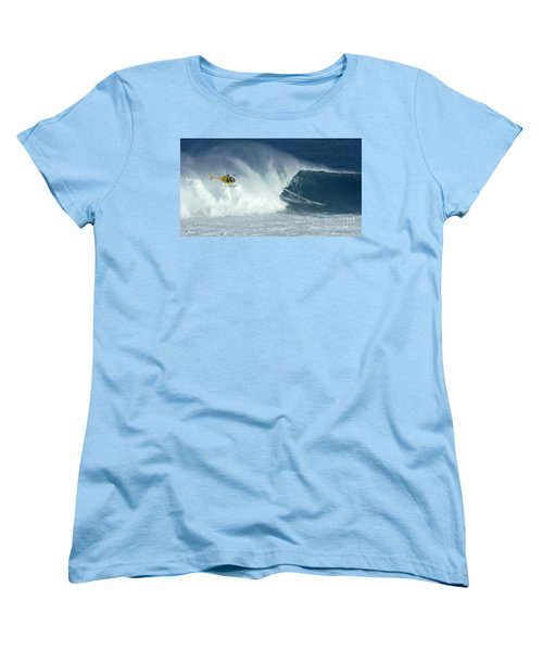 Laird Hamilton Going Left At Jaws Women's T-Shirt (Standard Cut) by Bob Christopher