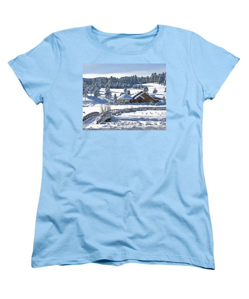 Lake House In Snow Women's T-Shirt (Standard Cut) by Ron White