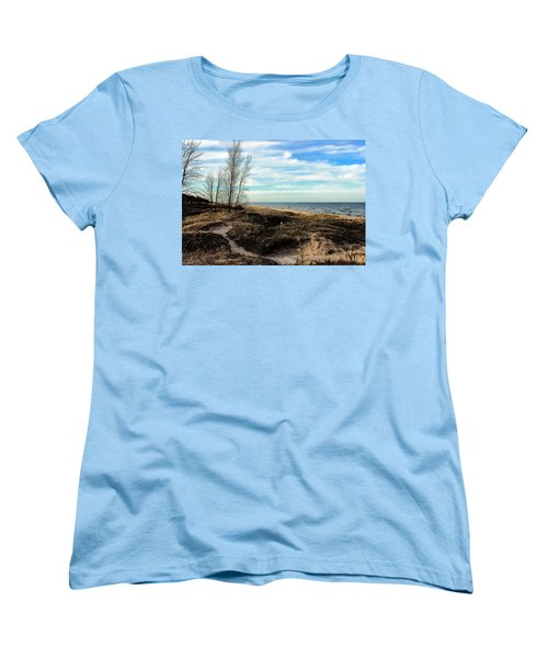 Women's T-Shirt (Standard Cut) featuring the photograph Lake Michigan Shoreline by Lauren Radke