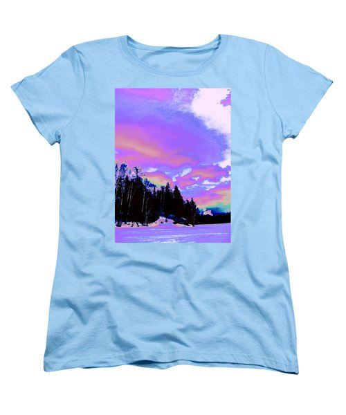 Winter  Snow Sky  Women's T-Shirt (Standard Cut) by Expressionistart studio Priscilla Batzell