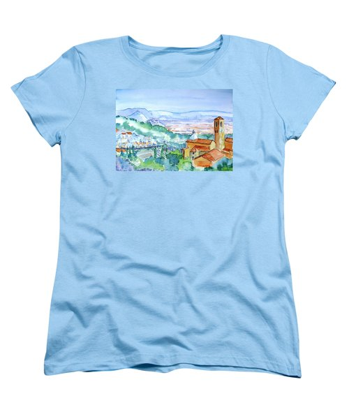 Women's T-Shirt (Standard Cut) featuring the painting Tuscany Valley  Medieval Village Of Massa by Trudi Doyle