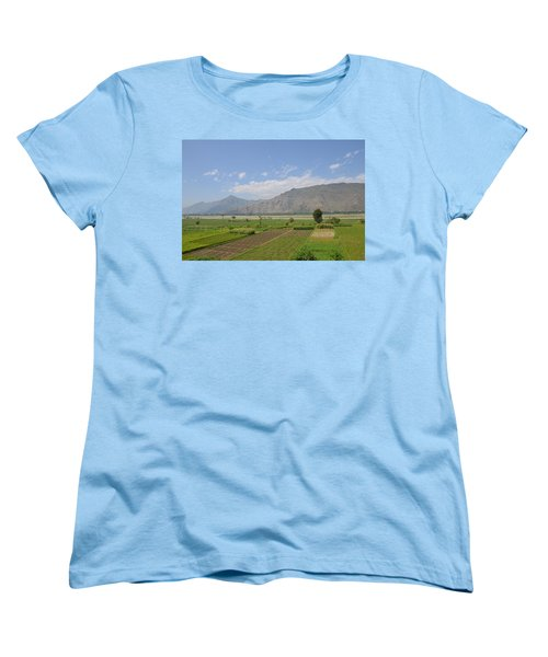 Women's T-Shirt (Standard Cut) featuring the photograph Landscape Of Mountains Sky And Fields Swat Valley Pakistan by Imran Ahmed