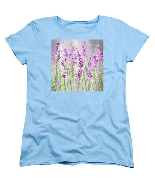 Lavender Blossoms - Lavender Field Painting Women's T-Shirt (Standard Cut) by Lourry Legarde