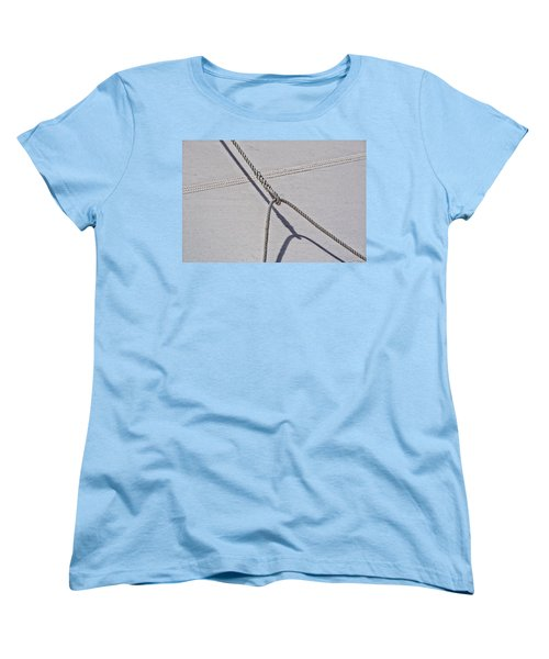 Women's T-Shirt (Standard Cut) featuring the photograph Lazy Jack-shadow And Sail by Marty Saccone