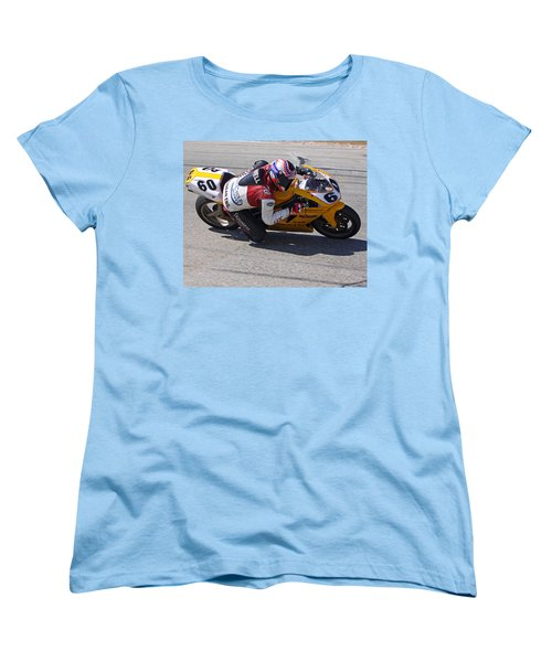 Women's T-Shirt (Standard Cut) featuring the pyrography Leaning Into Speed by Shoal Hollingsworth