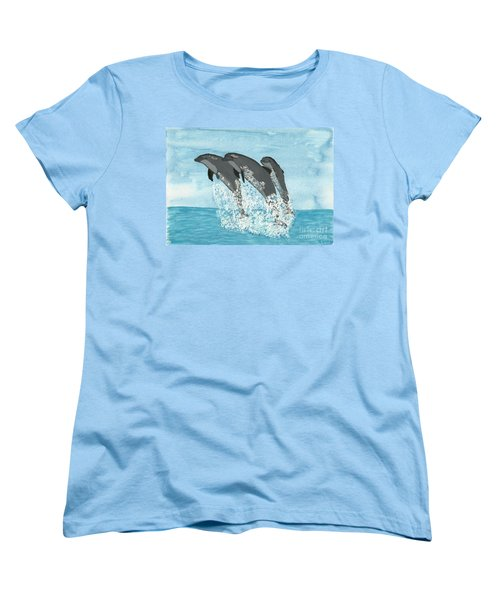 Leaping Dolphins Women's T-Shirt (Standard Cut) by Tracey Williams
