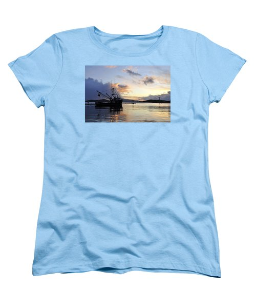 Women's T-Shirt (Standard Cut) featuring the photograph Leaving Safe Harbor by Cathy Mahnke