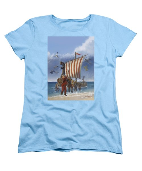Women's T-Shirt (Standard Cut) featuring the painting Legendary Viking by Rob Corsetti