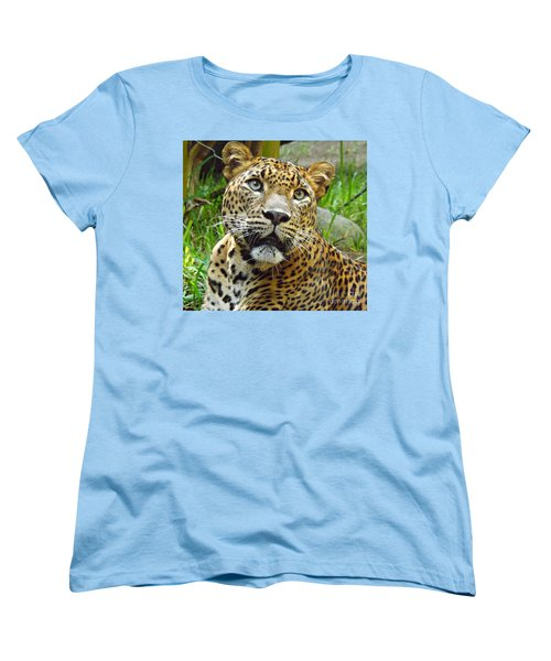 Women's T-Shirt (Standard Cut) featuring the photograph Leopard Face by Clare Bevan