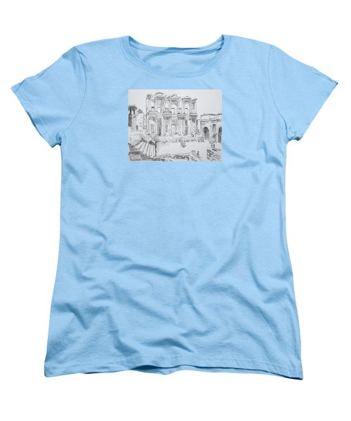 Women's T-Shirt (Standard Cut) featuring the painting Library At Ephesus by Marilyn Zalatan