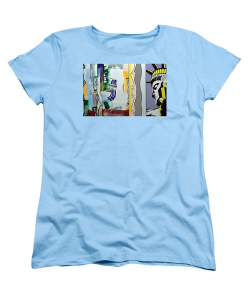 Lichtenstein's Painting With Statue Of Liberty Women's T-Shirt (Standard Cut) by Cora Wandel