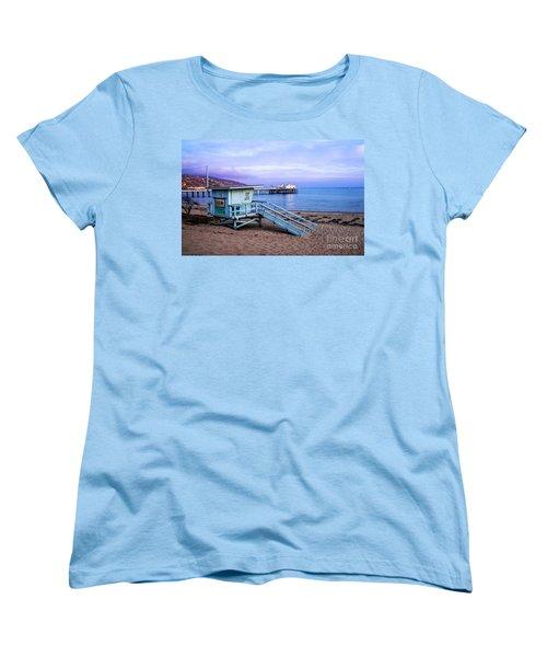 Lifeguard Tower And Malibu Beach Pier Seascape Fine Art Photograph Print Women's T-Shirt (Standard Cut) by Jerry Cowart