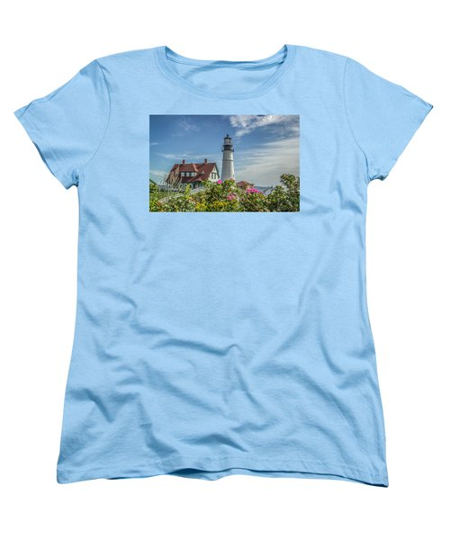 Women's T-Shirt (Standard Cut) featuring the photograph Lighthouse And Wild Roses by Jane Luxton