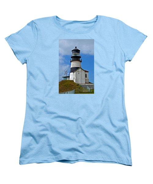 Women's T-Shirt (Standard Cut) featuring the photograph Lighthouse At Cape Disappointment Washington by Valerie Garner