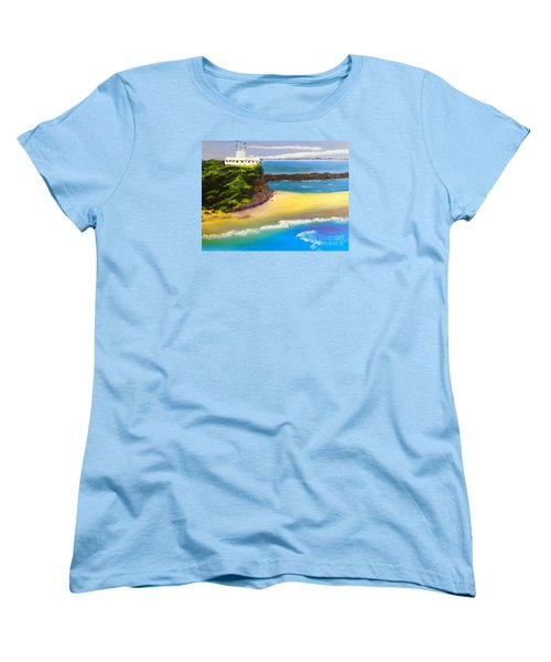 Women's T-Shirt (Standard Cut) featuring the painting Lighthouse At Nobbys Beach Newcastle Australia by Pamela  Meredith