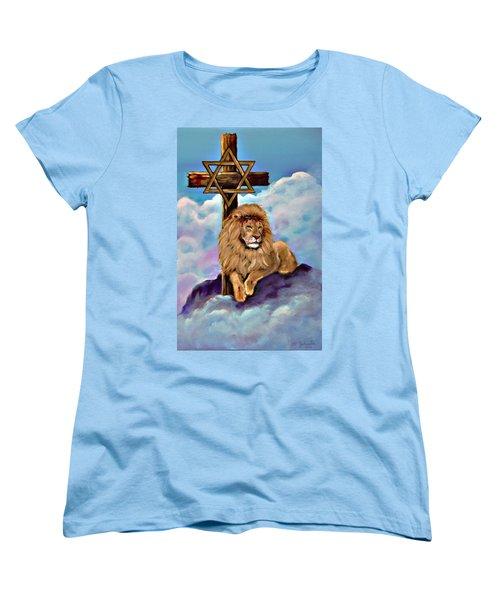 Lion Of Judah At The Cross Women's T-Shirt (Standard Cut) by Bob and Nadine Johnston
