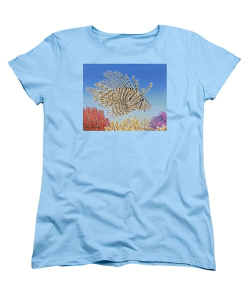 Women's T-Shirt (Standard Cut) featuring the painting Lionfish And Coral by Jane Girardot