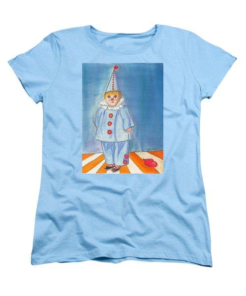 Women's T-Shirt (Standard Cut) featuring the painting Little Blue Clown by Arlene Crafton
