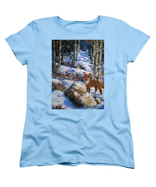 Women's T-Shirt (Standard Cut) featuring the painting Little Fox by Megan Walsh