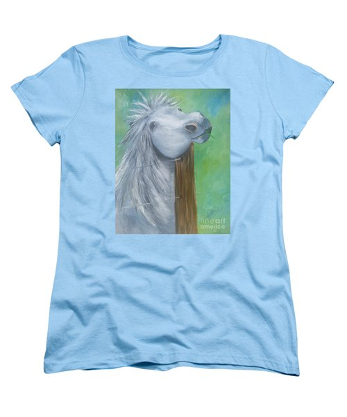 Women's T-Shirt (Standard Cut) featuring the painting Little Grey Has An Itch by Isabella F Abbie Shores FRSA
