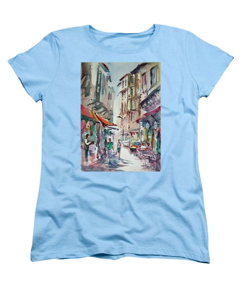 Women's T-Shirt (Standard Cut) featuring the painting Little Trip At Exotic Streets In Istanbul by Faruk Koksal