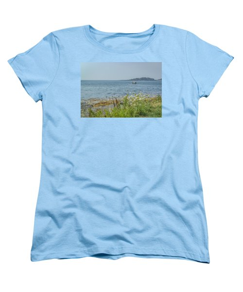 Women's T-Shirt (Standard Cut) featuring the photograph Lobster Boat At Rest by Jane Luxton
