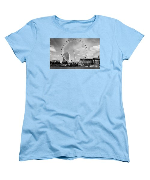 Women's T-Shirt (Standard Cut) featuring the photograph London Eye Head-on Bw by Matt Malloy