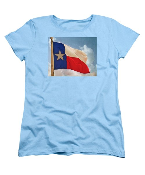 Lone Star Flag Women's T-Shirt (Standard Cut) by Walter Herrit