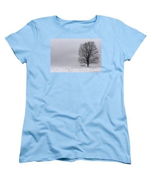 Lone Tree In The Fog Women's T-Shirt (Standard Cut) by Debra Fedchin
