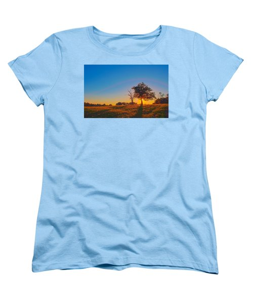 Women's T-Shirt (Standard Cut) featuring the photograph Lonely Tree On Farmland At Sunset by Alex Grichenko