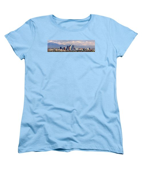 Los Angeles Skyline With Mountains In Background Women's T-Shirt (Standard Cut) by Jon Holiday