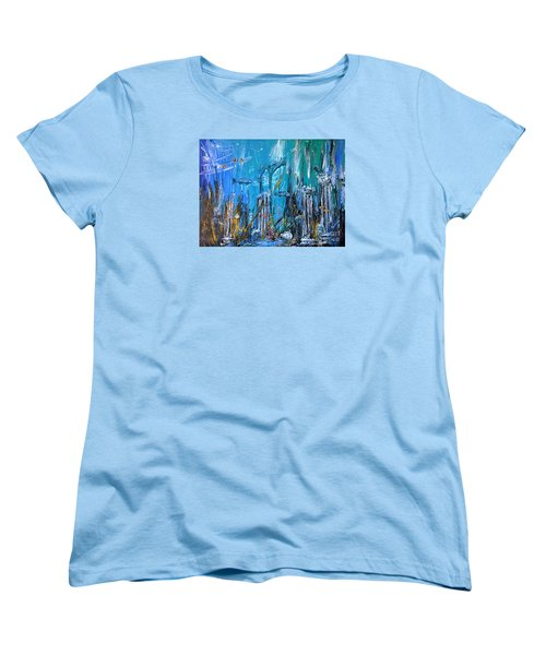 Women's T-Shirt (Standard Cut) featuring the painting Lost City by Arturas Slapsys